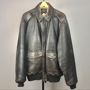 Men's Avirex A-2 Leather Bomber Jacket size XL